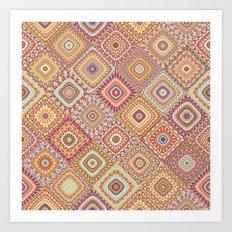 Granny's Millefiori Quilt-Spring Colors Art Print