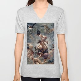 "Luis Ricardo Falero ""Witches going to their Sabbath or The departure of the witches"" Unisex V-Neck"