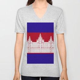 Cambodia flag emblem Unisex V-Neck