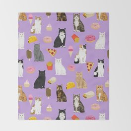 Cat breeds junk food pizza french fries food with cats gifts ice cream donuts Throw Blanket