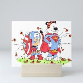 Calvin and Hobbes Superheroes Mini Art Print