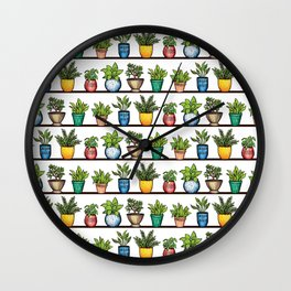 Houseplants Pattern - Colorful Potted Plants On Shelves Wall Clock