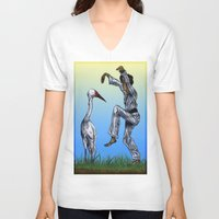 crane V-neck T-shirts featuring Crane Kick vs. Crane by Shmelanna