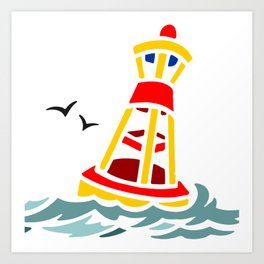 Yellow and Red Buoy Art Print