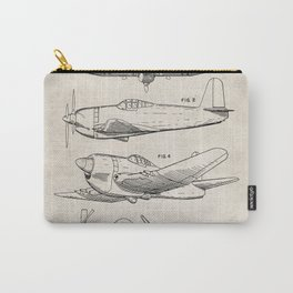Wedberg Airplane Patent - Us Air Force Art - Antique Carry-All Pouch