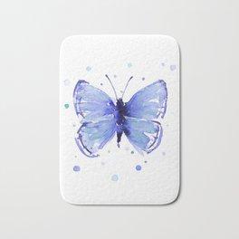 Dark Blue Butterfly Watercolor Bath Mat