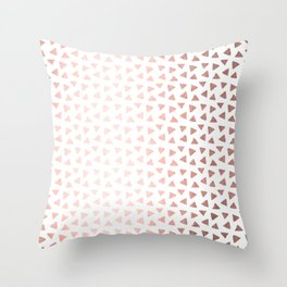 Rose Gold Triangle Checkers Throw Pillow