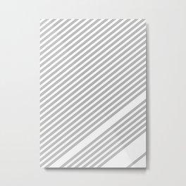 Grey Minimal Stripes Metal Print