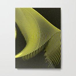 Line Art, yellow waves, geometric pattern Metal Print