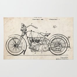 HARLEY DAVIDSON MOTORCYCLE 1928 PATENT ART PRINT POSTER HD VINTAGE V TWIN GIFT Rug