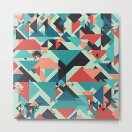 Abstract geometric background. Retro overlapping large and small triangles. Metal Print