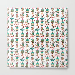 Christmas Woodland Animal Pattern Metal Print