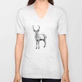 Deer illustration black and white Unisex V-Neck