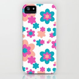 Teal Blue, Hot Pink, and Coral Floral iPhone Case