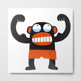 Muscle Monkey Metal Print