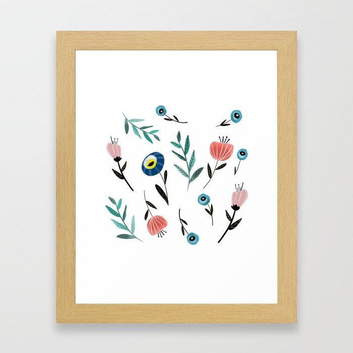 Florals and fronds Framed Art Print