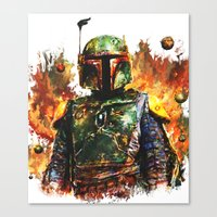 boba Canvas Prints featuring Boba Fett by ururuty