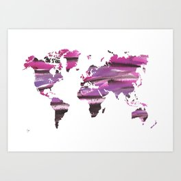 Watercolor World Map (brown/pink/purple) Art Print