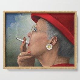 Queen of Denmark smoking a cig Serving Tray