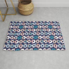 Cats Donut Care // blue background blush pink, teal pastel blue and brown sweet kitties Rug