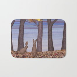 brown bunnies in autumn Bath Mat