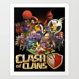 Clash of Clans ALL TROOPS in Black Art Print