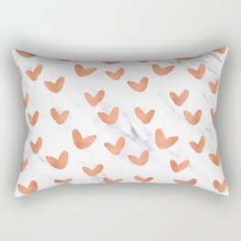 Hearts Rose Gold Marble Rectangular Pillow