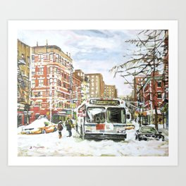 East Village In Snow, New York City Art Print