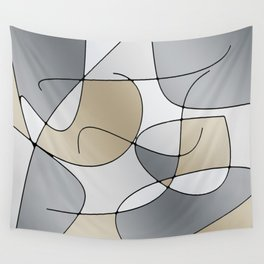 ABSTRACT CURVES #1 (Grays & Beiges) Wall Tapestry