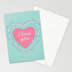 pink heart with love Stationery Cards