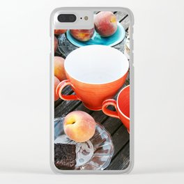 Peaches at teatime Clear iPhone Case