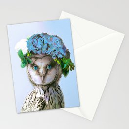 Cool Animal Art - Owl with a Flower Crown Stationery Cards