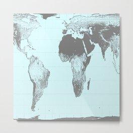 World Map : Gall Peters Aqua Metal Print