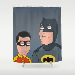 Caped Crusader and the Boy Blunder..... Shower Curtain