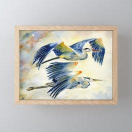 Flying Together - Great Blue Heron Framed Mini Art Print