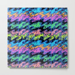 Electric Surf Waves in Neon Rainbow + Black Metal Print