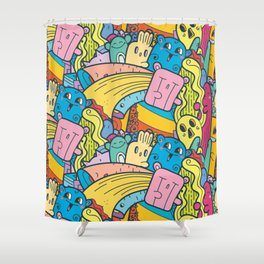 Doodle Kawai Funny Monster Pattern Motive Shower Curtain