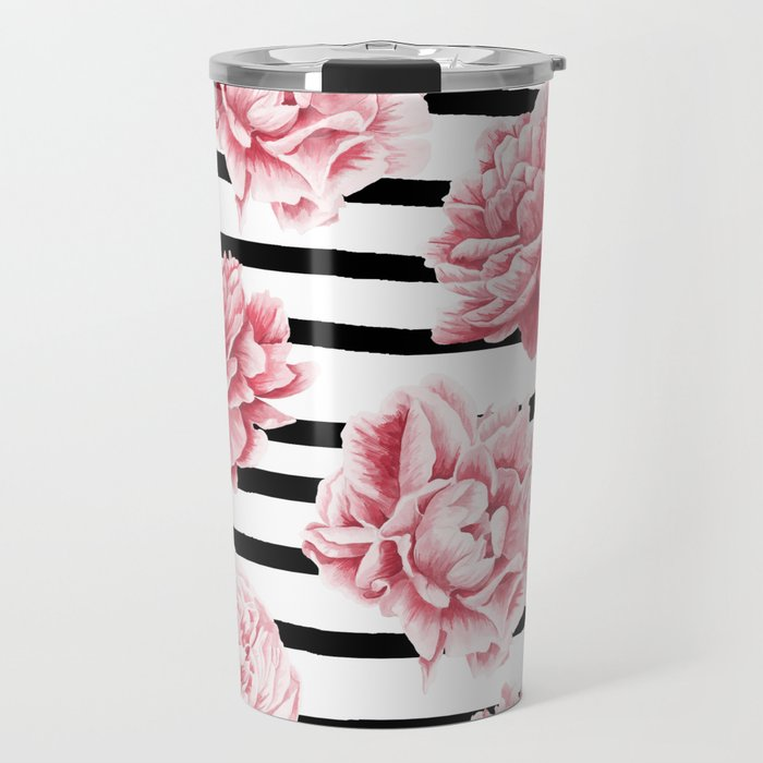 Simply Drawn Stripes and Roses Travel Mug
