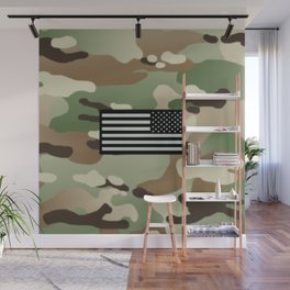 Woodland Camouflage & Black Flag Wall Mural