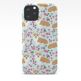 Corgi cherry blossom florals dog must have cute welsh corgis gifts pure breed iPhone Case