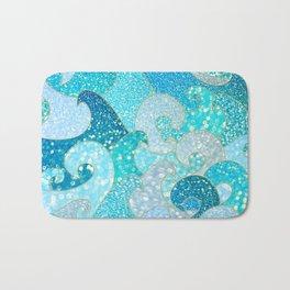 Mermaid Waves And Sea Faux Glitter- Sun Light Over The Ocean Bath Mat