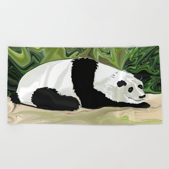 Driving at Panda Pace Beach Towel