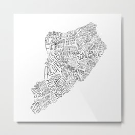 Staten Island - Hand Lettered Map Metal Print
