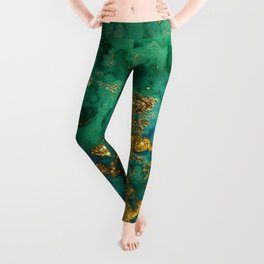 Malachite and Gold Glitter Stone Ink Abstract Gem Glamour Marble Leggings