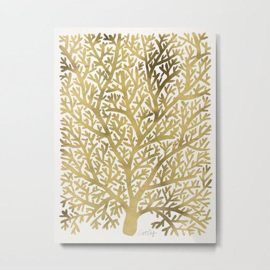 Gold Fan Coral Metal Print