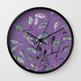Silky Lavender Greenery Leaves Wall Clock