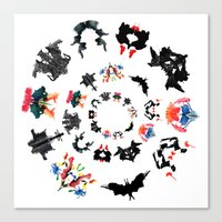 psychology Canvas Prints featuring Rorschach test subjects' perceptions of inkblots psychology   thinking Exner score  by Luxorama