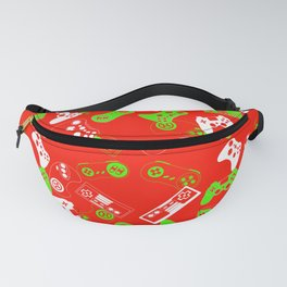 Video Gamesgreen on red Fanny Pack