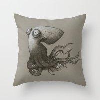 octopus Throw Pillows featuring Octopus by Tim Probert
