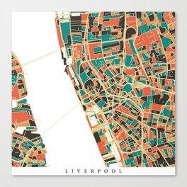 Liverpool City Map - Multicolour Canvas Print